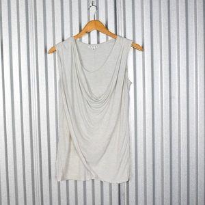 Cabi Heather Grey Overlay Blouse 105 Cowl Neck